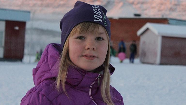 Anneli Persson Svonni går på Kiruna sameskola. Foto: Anna Tigerström/Sveriges Radio