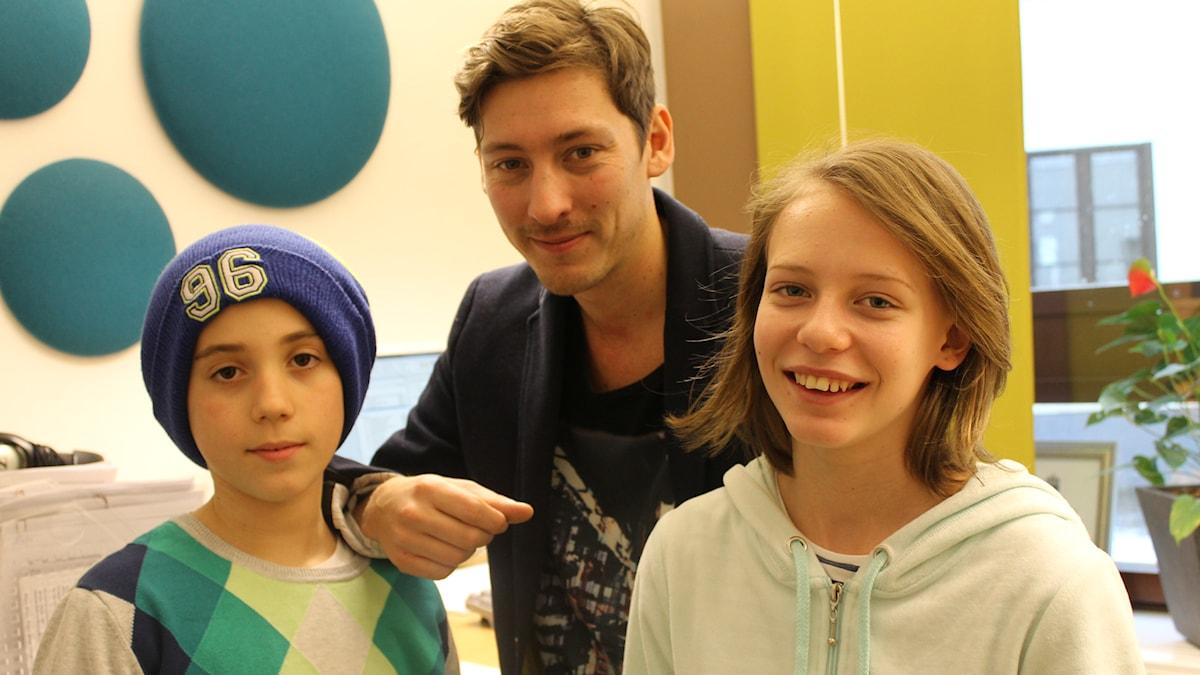 Mensur, Kim och Emma. Foto: Niclas Albertsson/Sveriges Radio