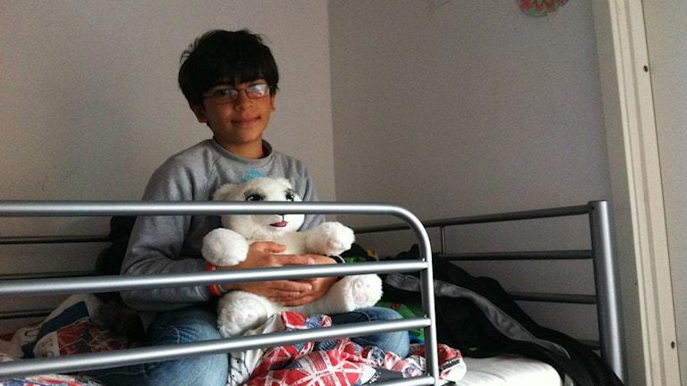 Hamzaa Chhab sitter i sin våningssäng och kramar en vit nallebjörn Foto: Anneli Koskinen/Sveriges Radio.