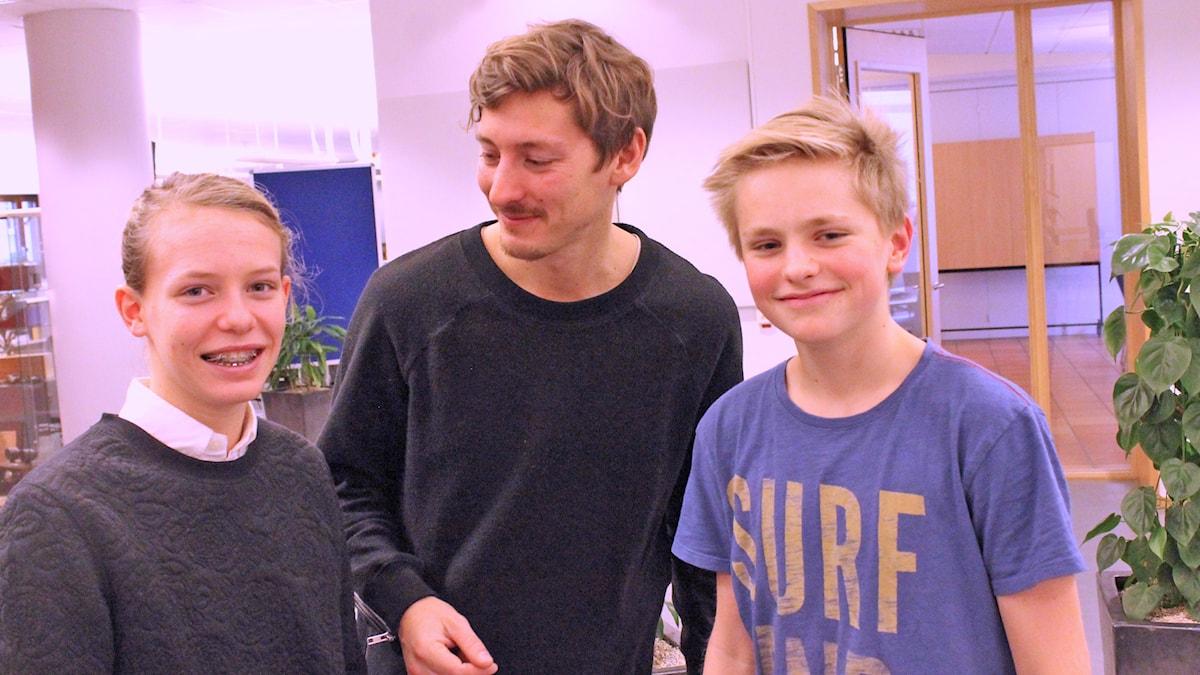 Emma, Kim och Albin. Foto: Niclas Albertsson/Sveriges Radio