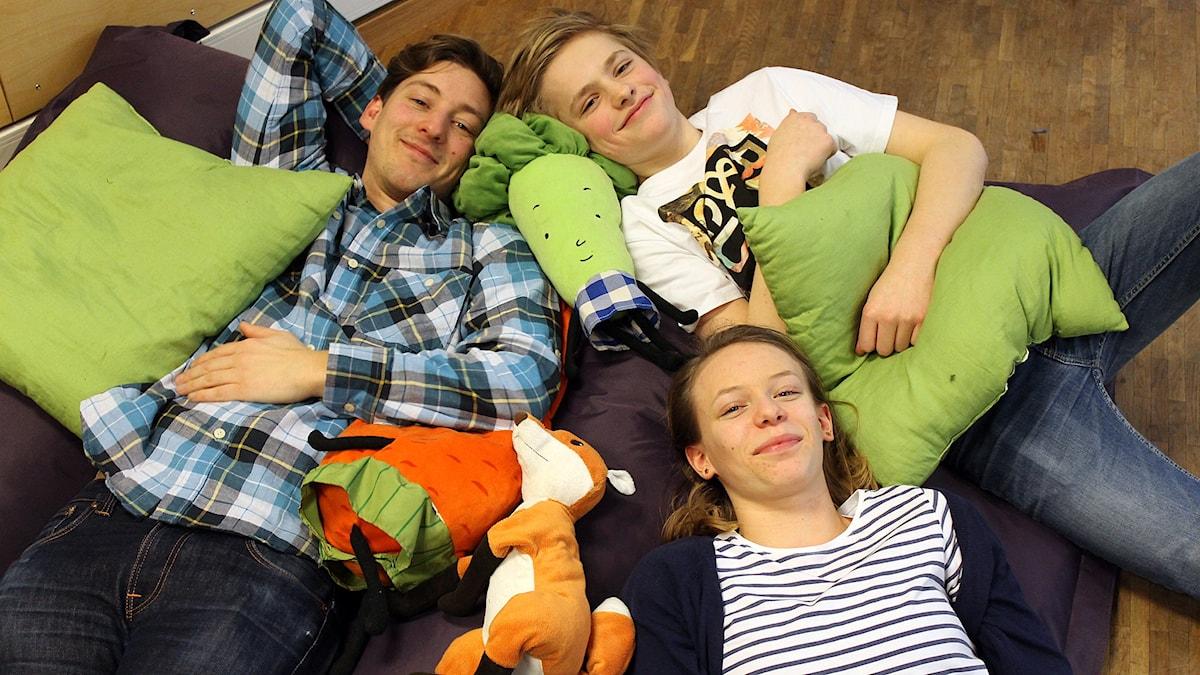 Kim, Albin och Emma. Foto: Niclas Albertsson/Sveriges Radio