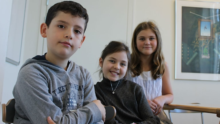 Här är Ahmad, Agnes och Alice som berättar vilken skolmat de vill ha.