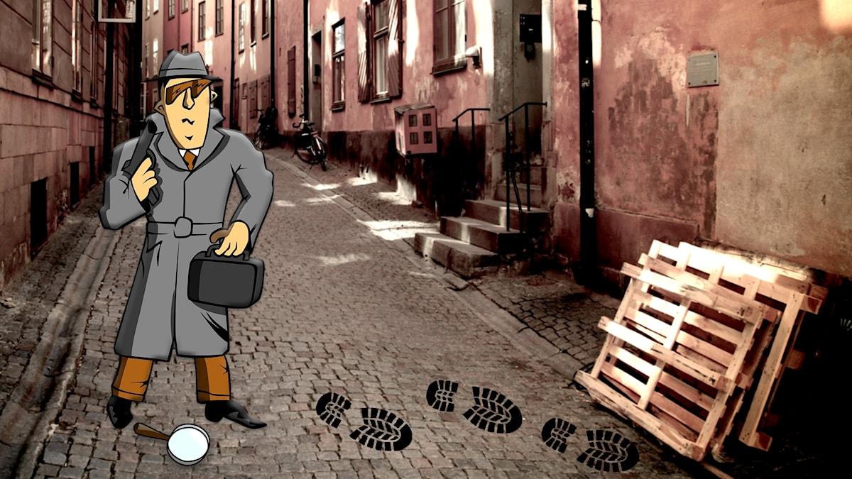 En animerad agent står på en smal gata. Fotsteg och förstoringsglas.