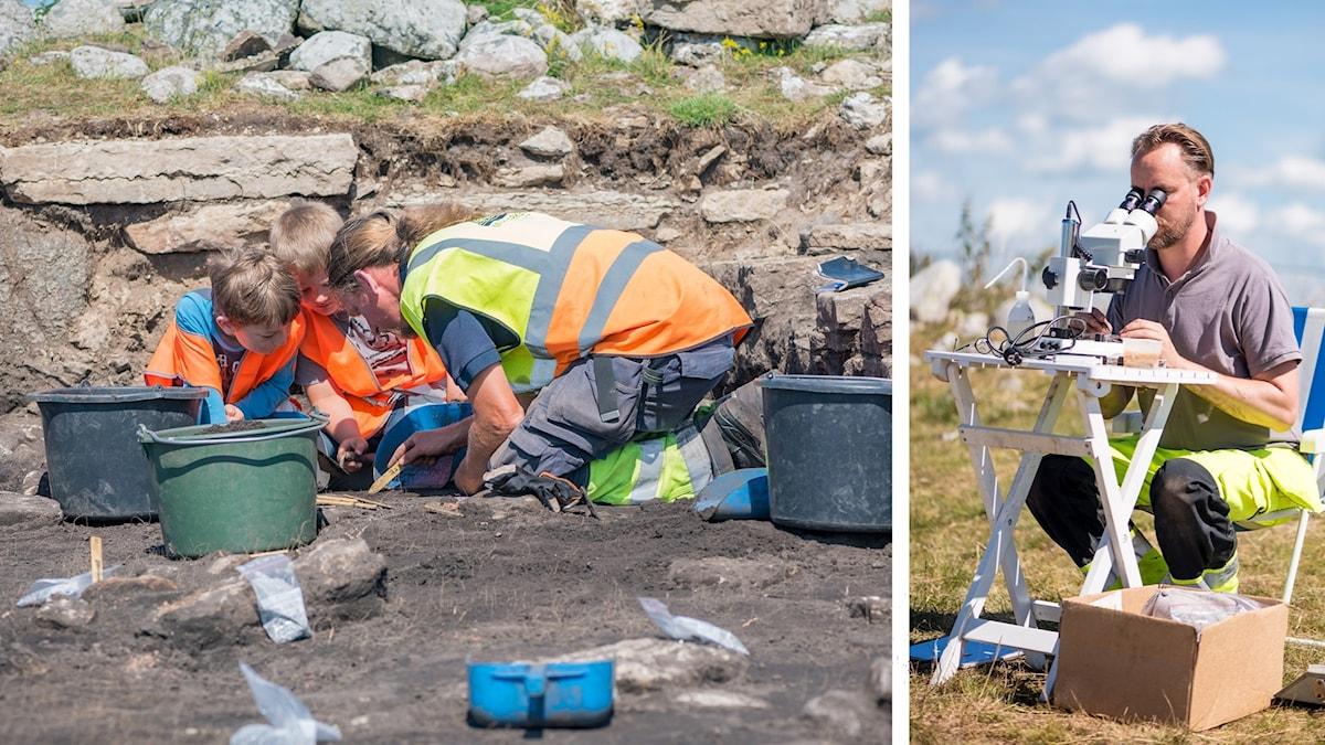 Kollage med två bilder. En på två barn och en vuxen som gräver vid en arkeologisk plats. Den andra bilden föreställer en man som tittar i ett mikroskop.