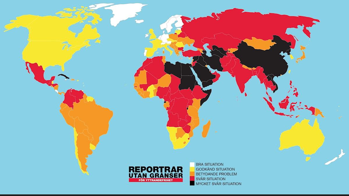 Karta som visar var i världen det är farligast att leva som journalist.