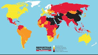 Karta som visar var i världen det är farligast att leva som journalist.  SR.Web.CssMapping.CssClass