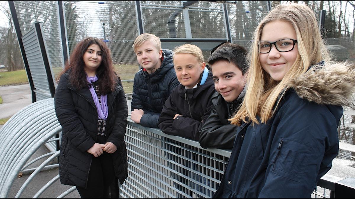 Amanda, Mohammed, Nathanael, Albin och Fatme på Slottskolan i Borgholm.