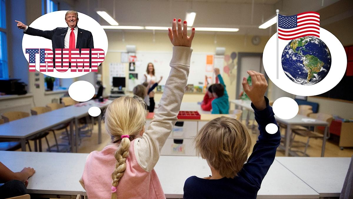 Två barn sitter i ett klassrum och räcker upp varsin hand. Den som sitter till vänster har en tankebubbla med Donald Trump. Den till höger har en tankebubbla med jordklotet och en amerikansk flagga.