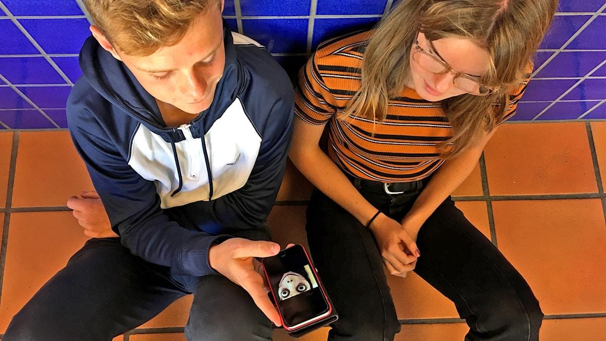 Max Eriksson, Thea Staxhammar sitter och tittar på en bild av Momo i mobilen.
