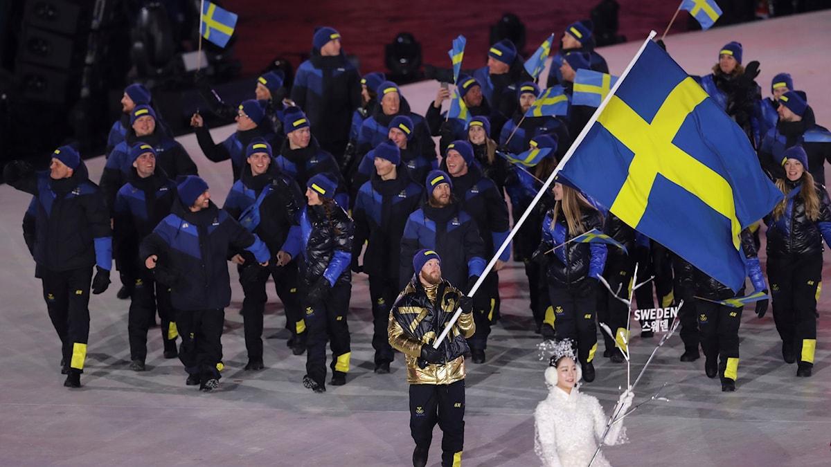 Niclas Edin med flera under invigningen av vinter-OS.