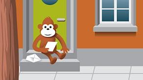 Gorilja lukee vastausta portailla