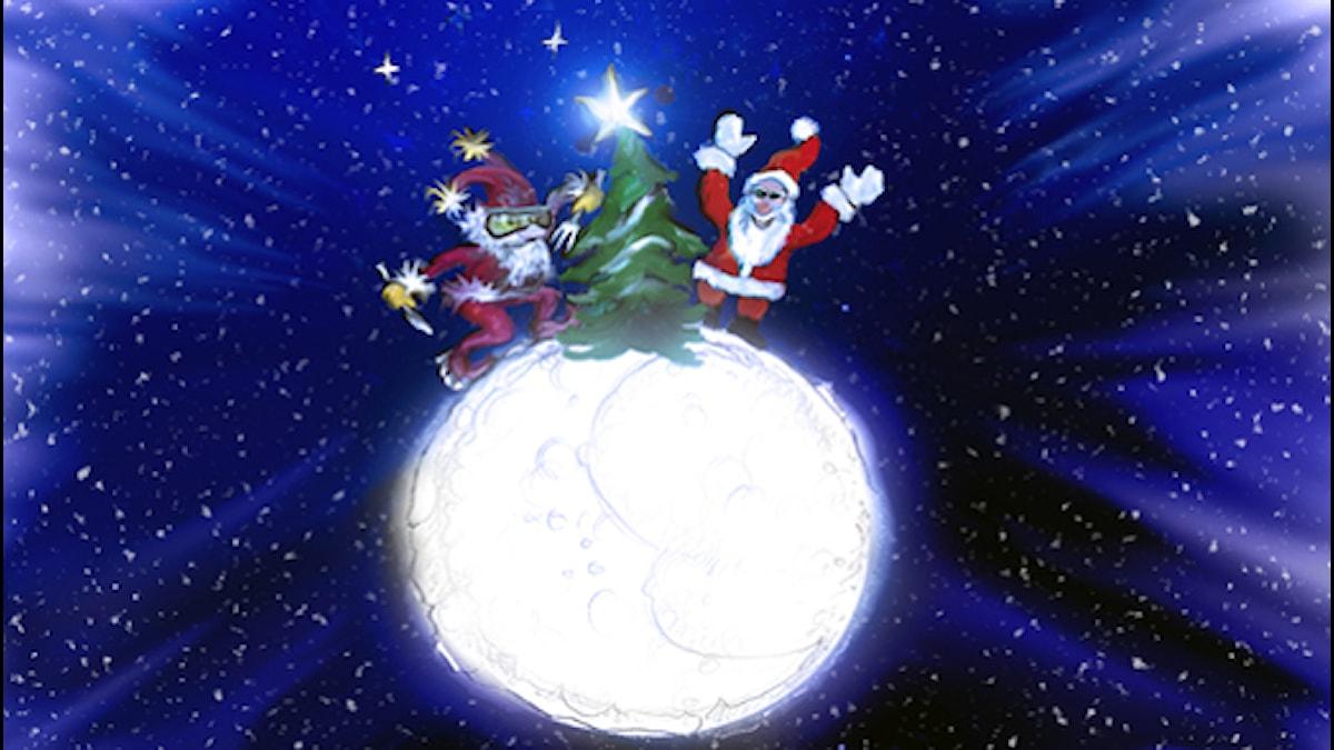 Joulu kuussa. Piirros: Marko Posero