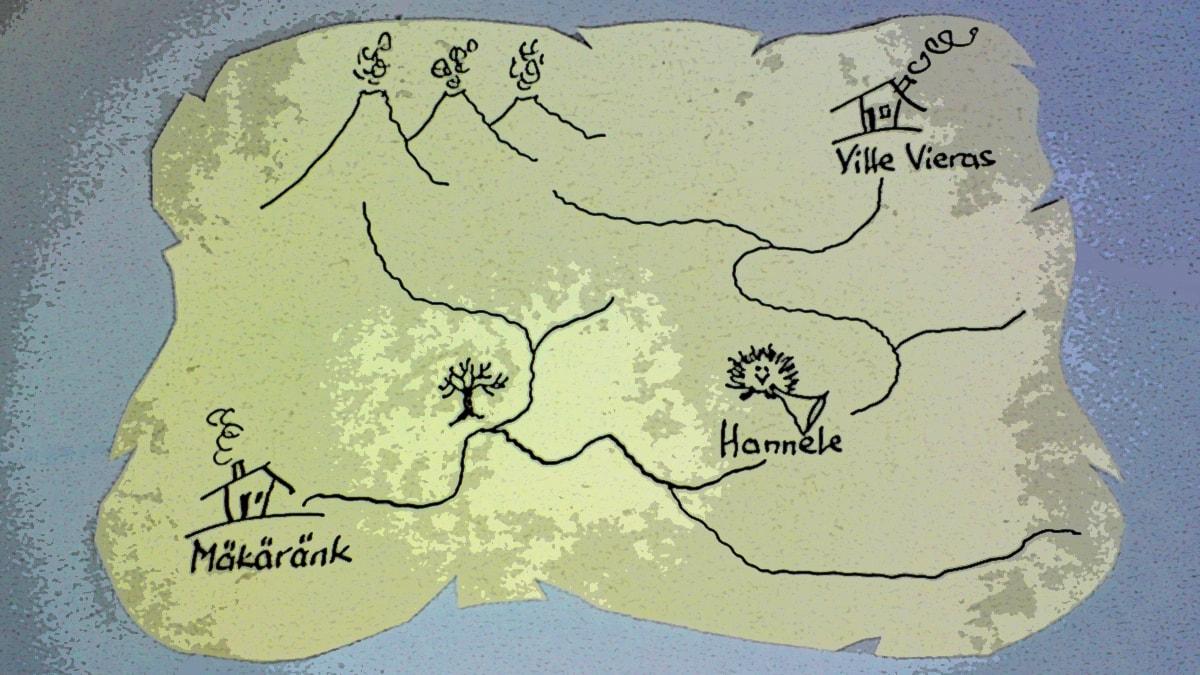 Mäkäränkin kartta. Piirustus ja kuva: Tuomo Rouhiainen