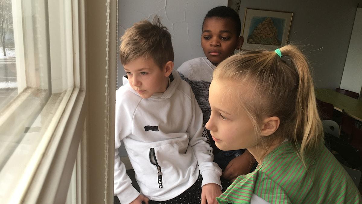 Albin, Therence ja Alva katselevat ikkunasta ulos