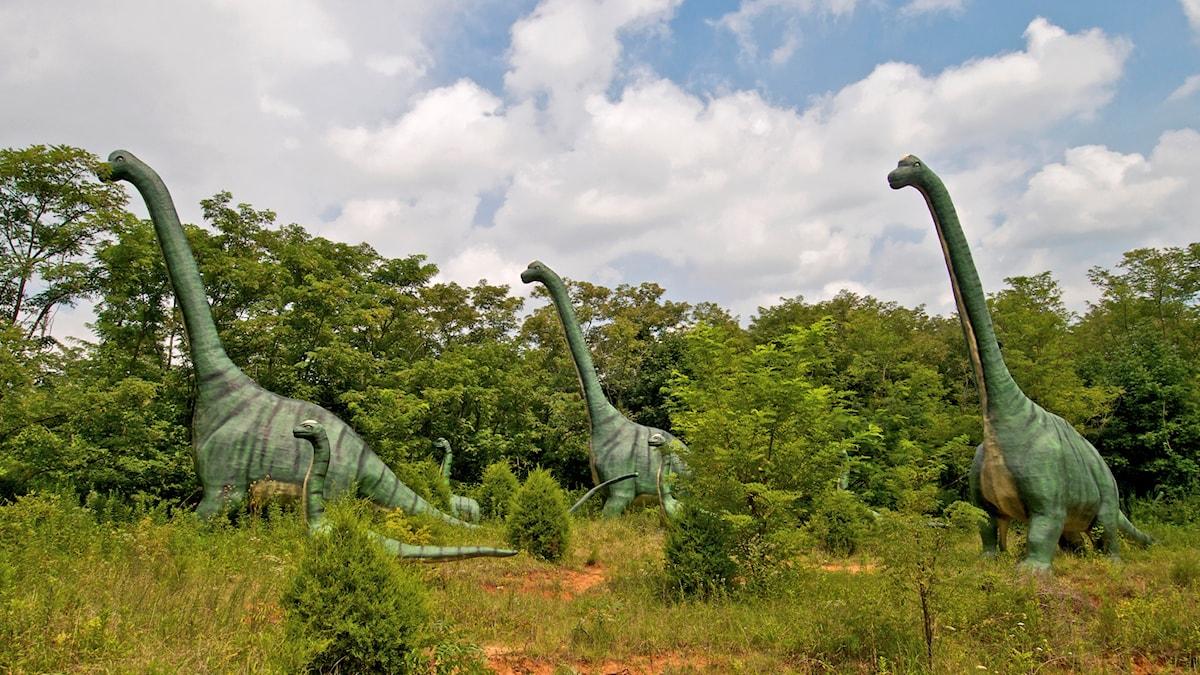 Kuvassa näkyy dinosauruksia.