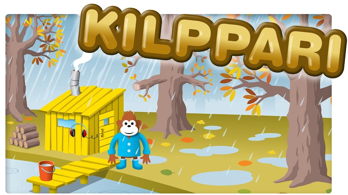 Kuvassa Gorilja seisoo vesisateessa mökkinsä ulkopuolella.
