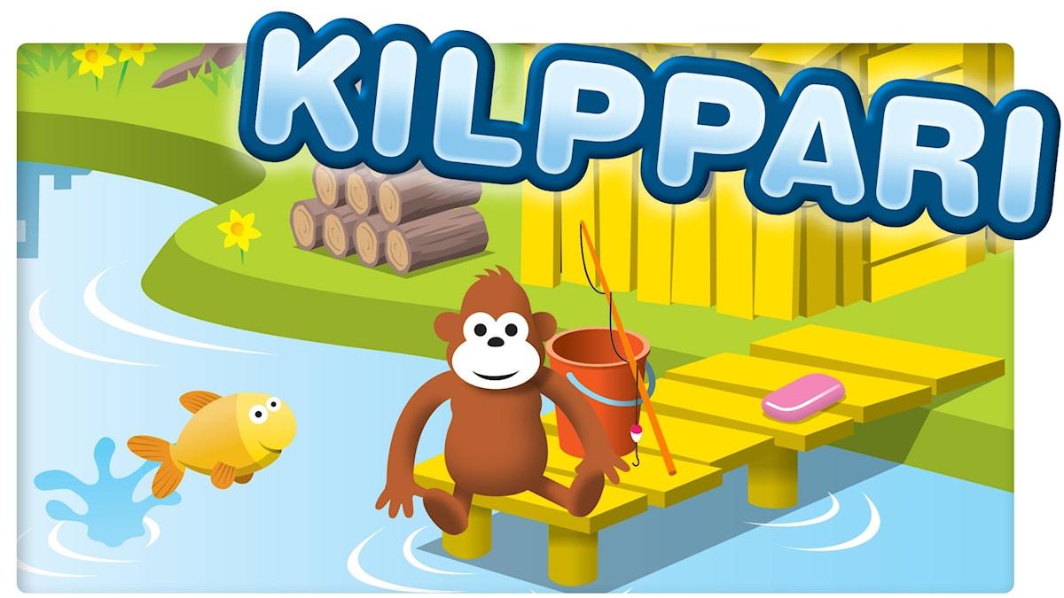 Gorilja istuu laiturilla ja vedessä hyppii kala.