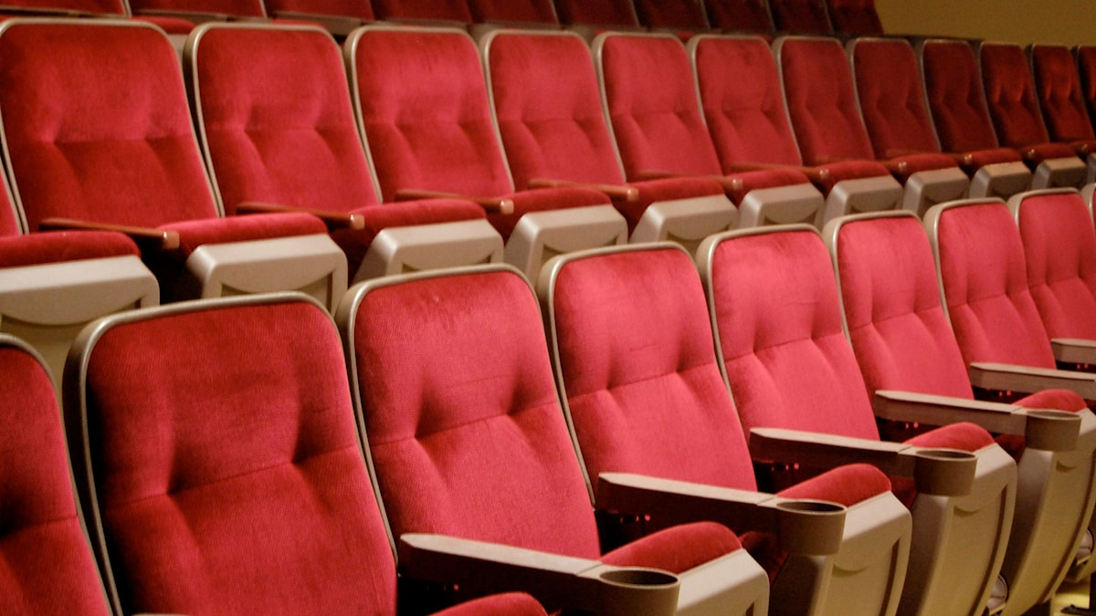 Penkkirivi elokuvateatterin salongissa.