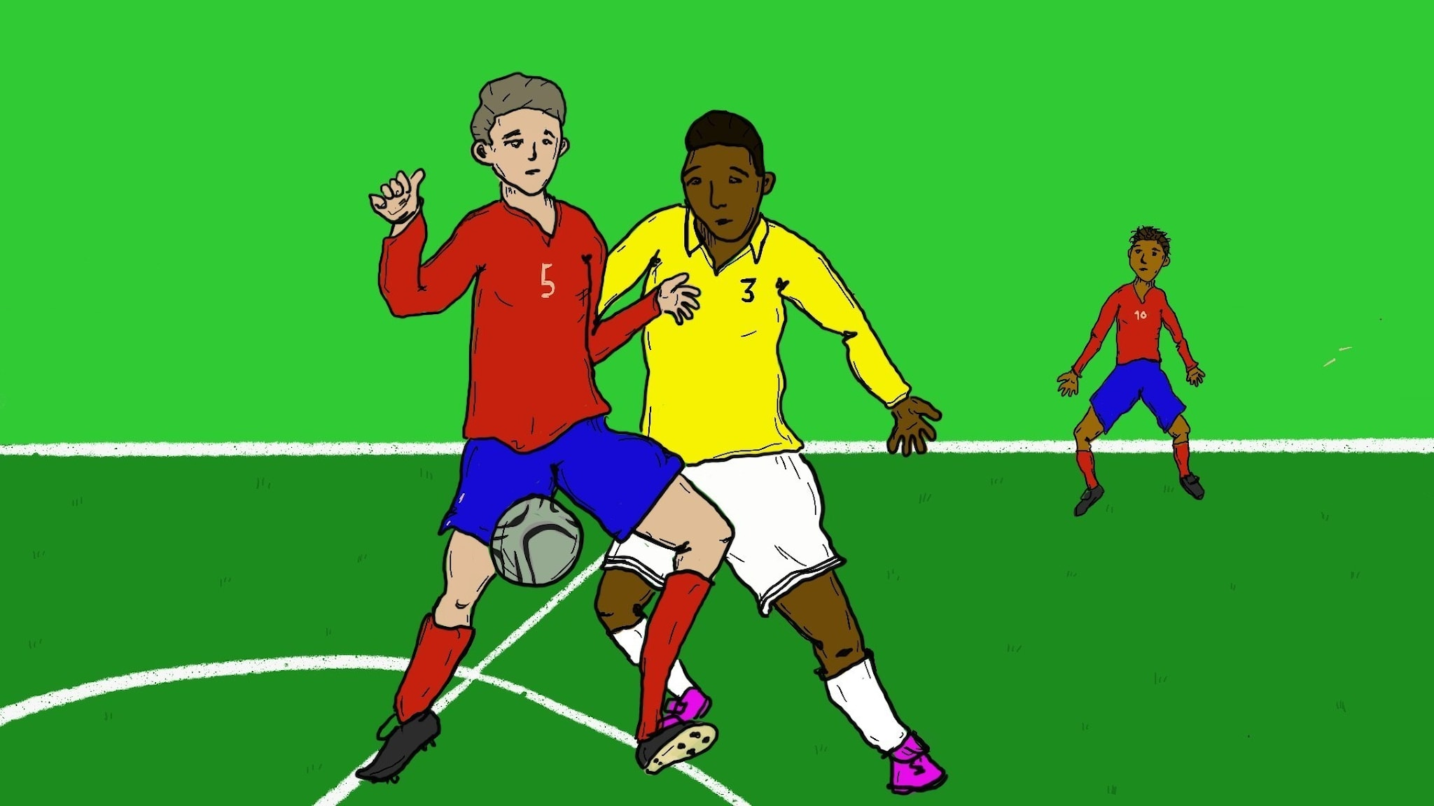 Piirros: Jimmy ja Sami jalkapalloottelussa