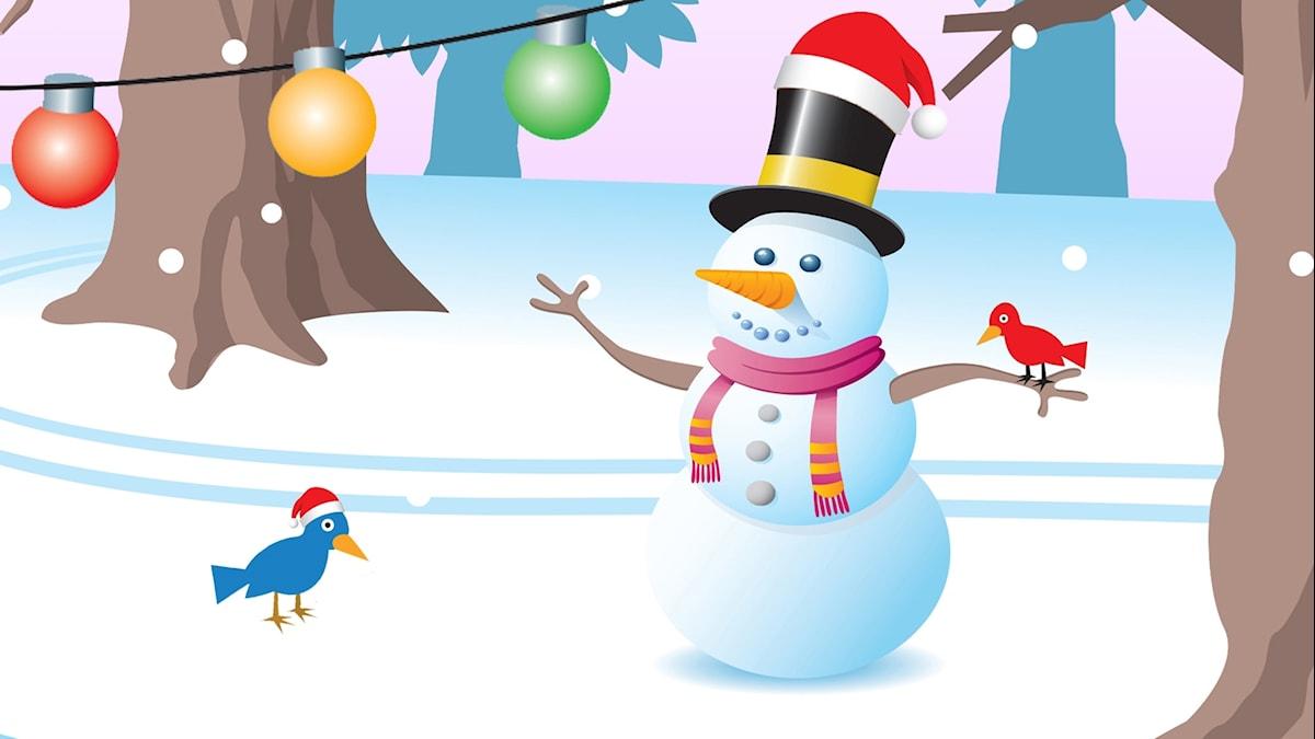 Lumiukko ja kaksi lintua