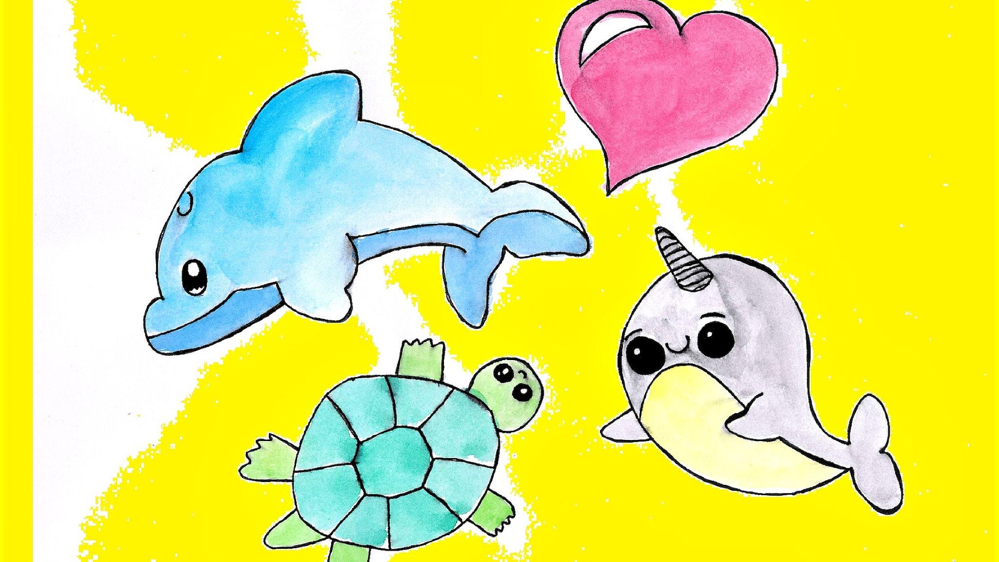 Piirros meren eläimistä