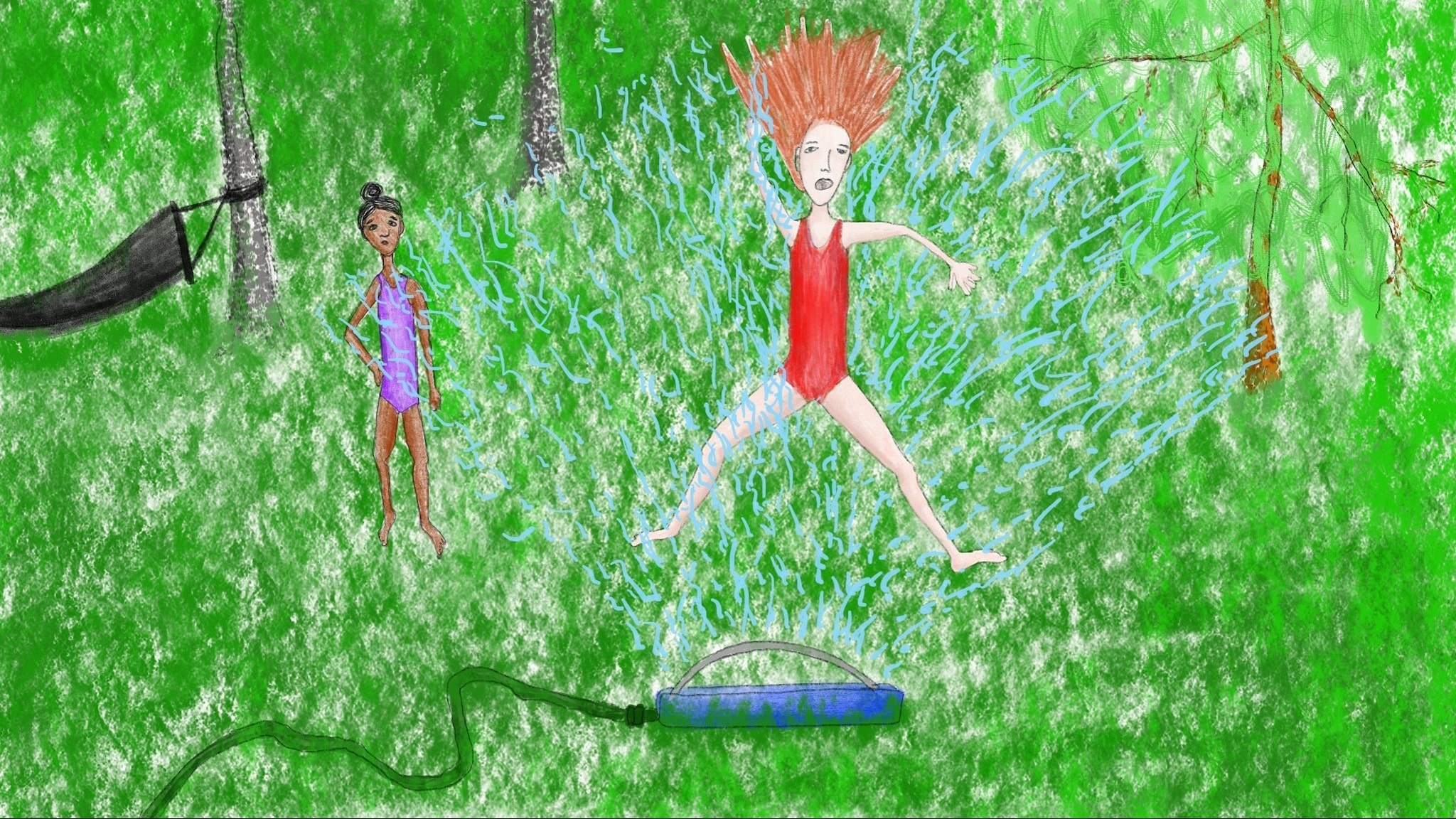 Piirros tytöstä, joka leikkii sprinklerileikkiä eli hyppii sadettajan yli