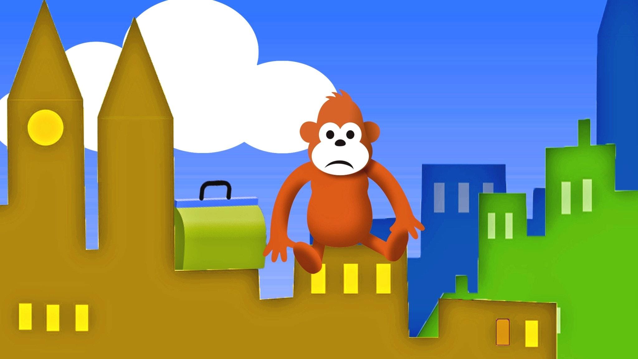 Gorilja istuu kaupungin katoilla