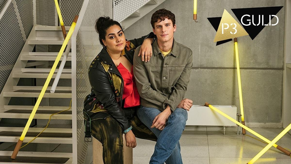 Tina Mehrafzoon och Adam Pålsson är programledare för P3 Guld 2018.