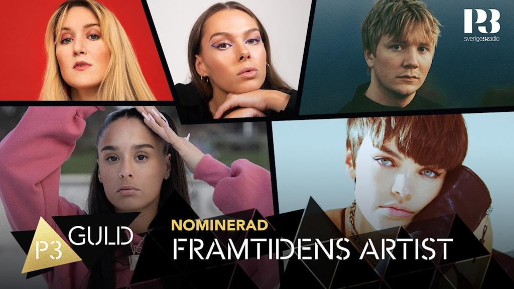 Kollage på nominerade i kategorin Framtidesn artisti i P3 Guld 2021.
