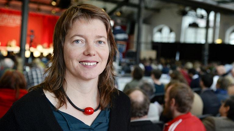 Portätt på Malin Björk, som toppar Vänsterpartiets lista i valet till EU-parlamentet. Foto: Jessica Gow/TT.