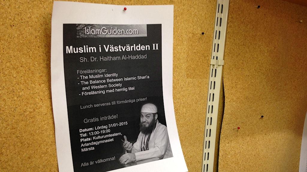 Haitham Al-Haddad skulle föreläst för unga muslimer i Märsta men kommunen stoppade det. Foto: Markus Landén/Sveriges Radio
