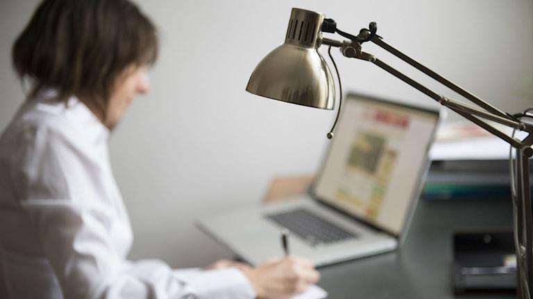 En kvinna sitter vid en dator. Foto: Fredrik Sandberg /TT