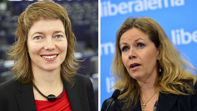 EU-parlamentarikerna Malin Björk (V) och Cecilia Wikström (FP). Foto: Fredrik Persson/TT, Henrik Montgomery/TT