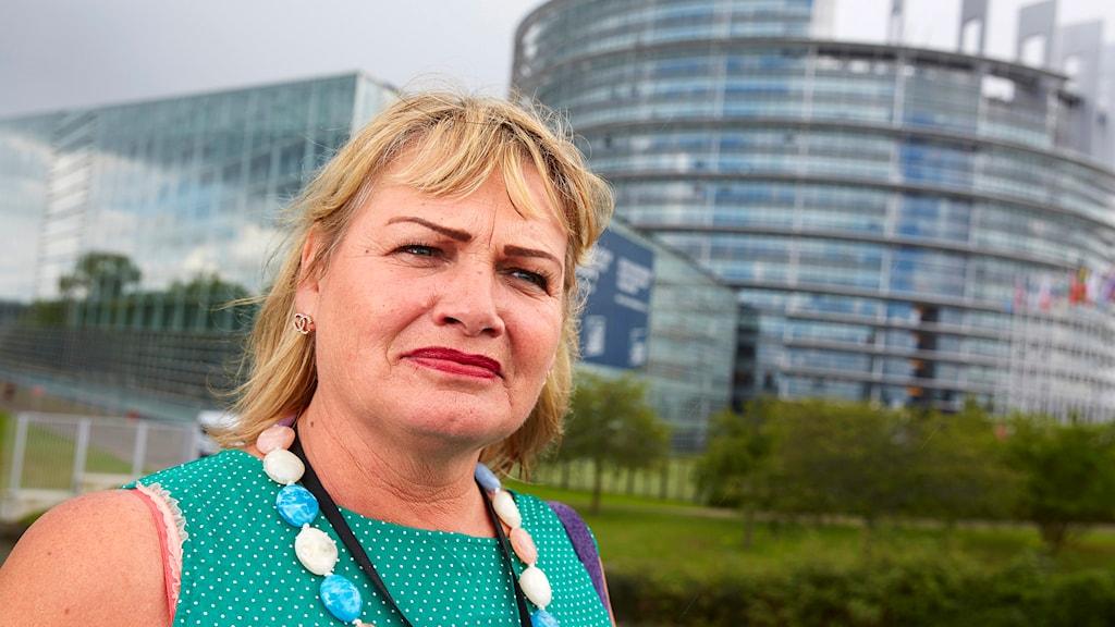 Soraya Post (FI) har drivit frågan om en romsk minnesdag i Europaparlamentet. Foto: Fredrik Persson/TT