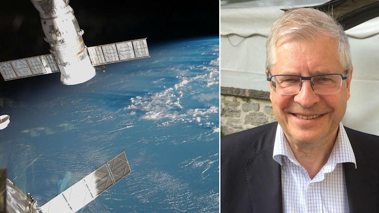 Ingemar Skogö har utrett Sveriges första rymdstrategi. Foto: Nasa, Anders Ljungberg/Sveriges Radio