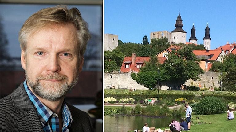 En bild på Tomas Ramberg och en bild på Almedalen. Foto: Pablo Dalence & Anders Ljungberg/ Sveriges Radio