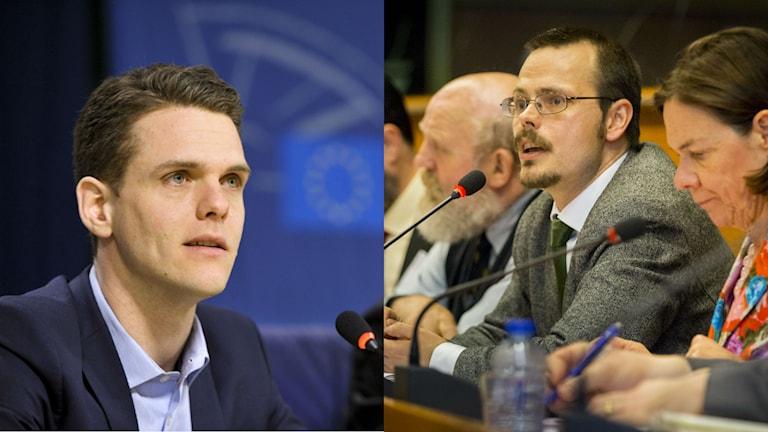 Christofer Fjellner (M) och Max Andersson (MP) har olika syn på resolutionen som i dag vann omröstningen i EU-parlamentet. Foto: Fredrik Hjerling.