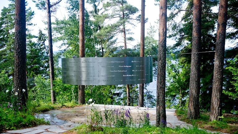 Minnesmärke på Utöya. Foto: TT