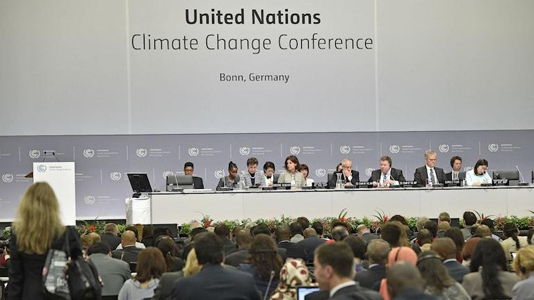 Möte i Bonn i juni 2015. En panel med tiotalspersoner och de övriga delegater som publik.AP Photo/Martin Meissner