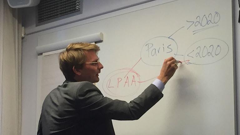 Fredrik Hannerz skissar på en tavla och talar om det som väntar i Bonn och Paris. Foto: Olgica Lindquist