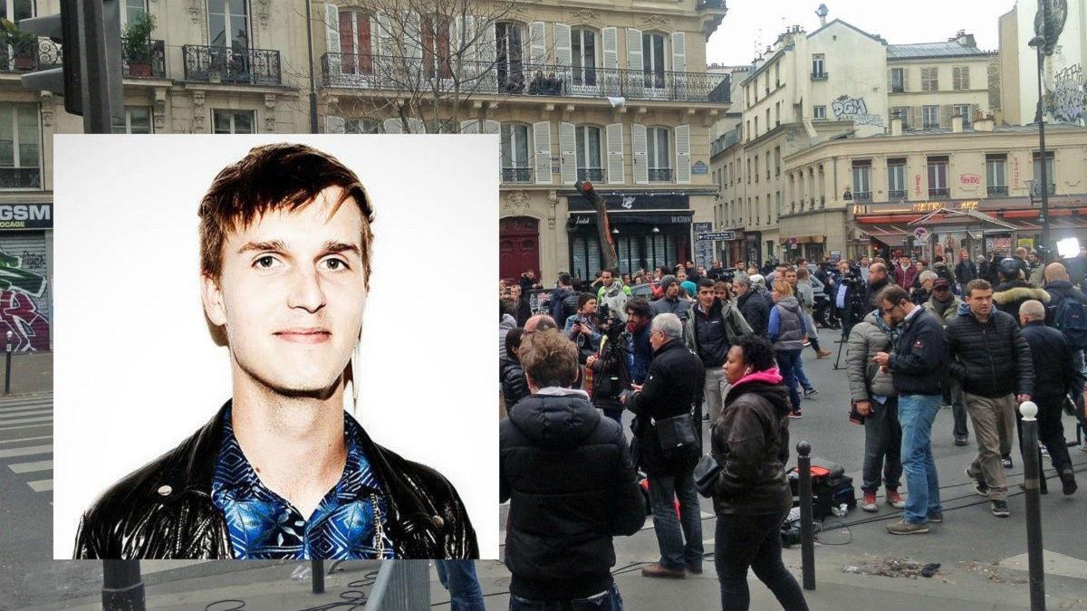 Bild på Gustav Gällhagen, infälld i en bild från Paris, där människor samlats i närheten av platserna för terrordådet. Foto: Privat / Jan Andersson, Sveriges Radio