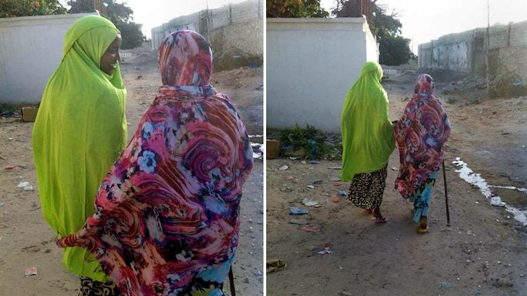 Wilo Abdulle är ute och promenerar med sin mamma i Mogadishu. Foto: privat