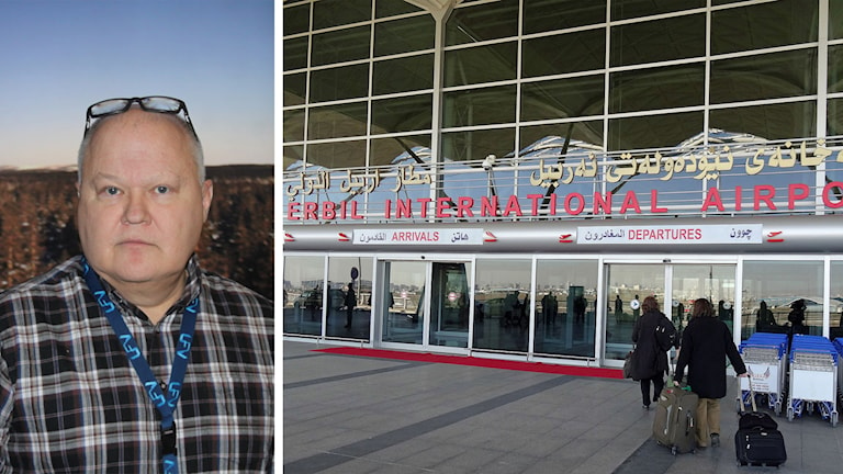 Mikael Henriksson today, and the international airport in Erbil. Photo: Luftfartsverket and Jeffrey Beall