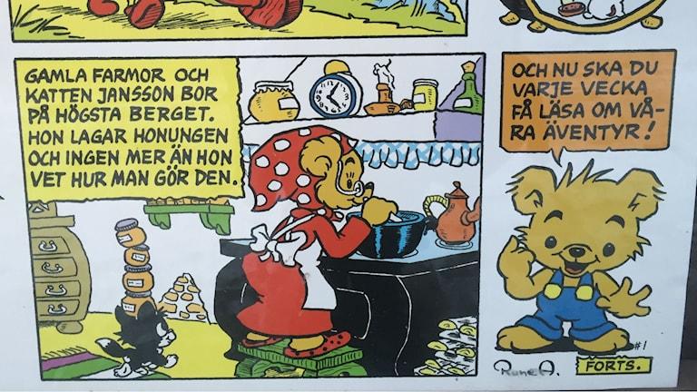 Färglagt blad nummer ett ur Bamse från tidningen Allers 1966. Foto: Olgica Lindquist, Radio Sweden, SR.