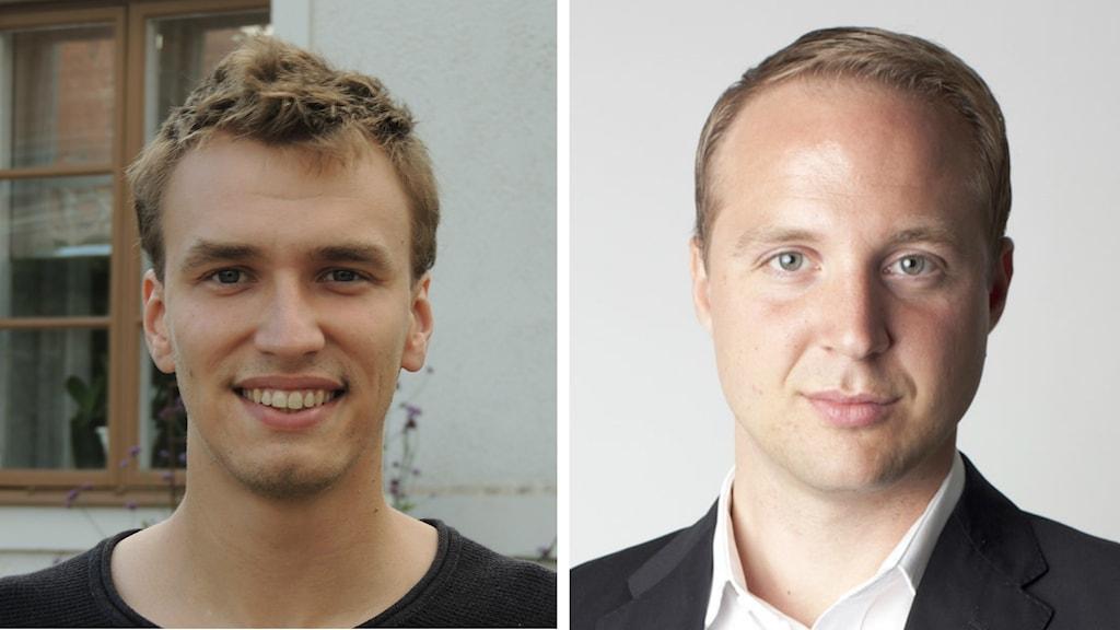 Porträttbilder på Rikard Allvin (MP) och Erik Brattberg, tankesmedjan Frivärld. Foto: Privata.