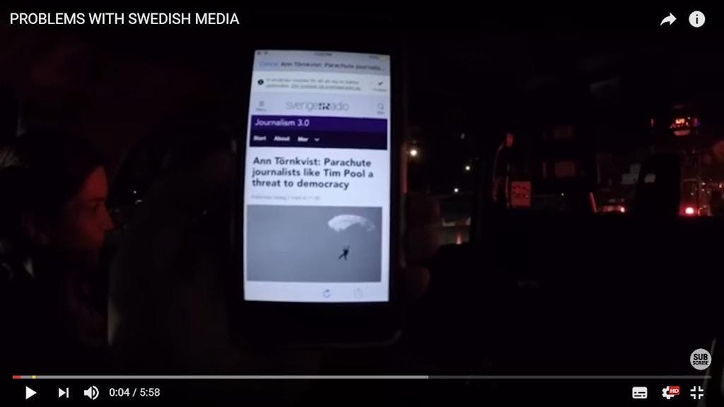 Screenshot of Tim Pool's video reply to Ann Törnkvists op-ed on parachute journalism.