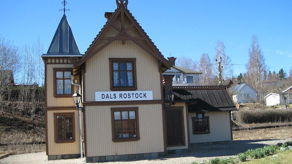 Järnvägsstationen i Dals Rostock. Bild från Klas-Uno Francke