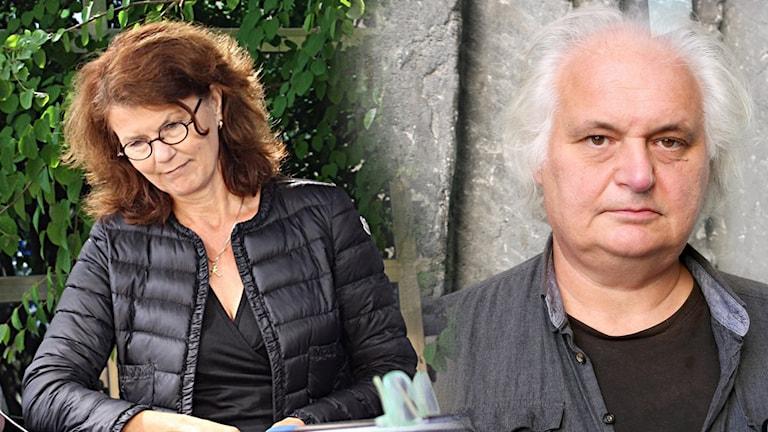 Bildkollage. Från vänster: Heidi Avellan, Göran Greider.
