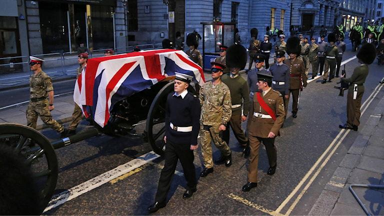 Repetion inför onsdagens begravning av Margaret Thatcher.