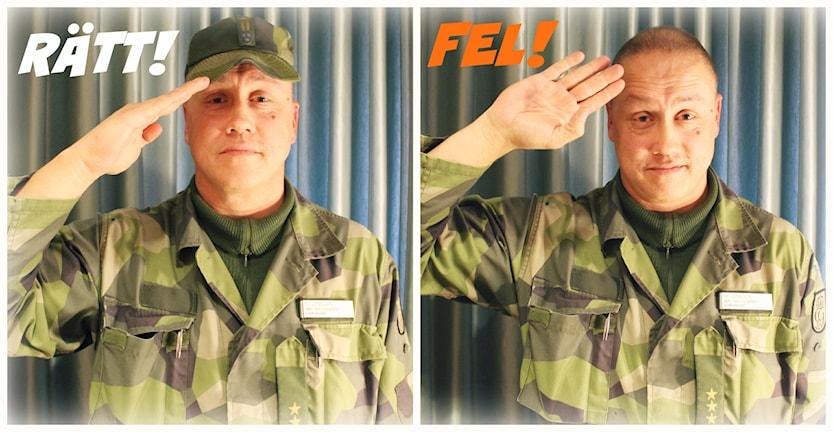 Håkan Jönsson, chef för Livgardet visar hur man gör en korrekt honnör. Foto: Ronnie Ritterland / Sveriges Radio